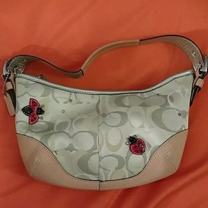 Coach Ladybug Applique Optic Signature Hobo #6723